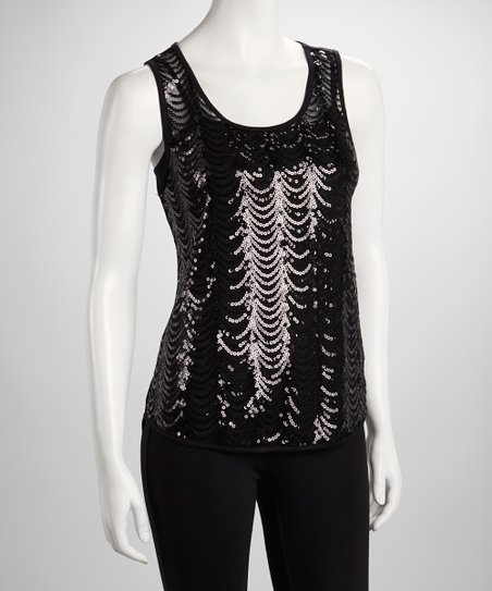 Black Sheer Scallop Sequin Tank