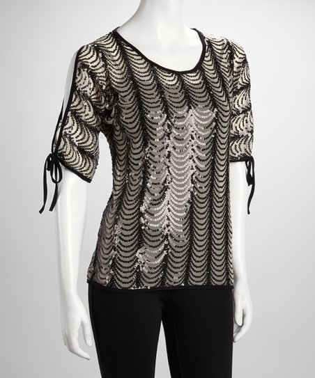 Black Sheer Scallop Sequin Stripe Top