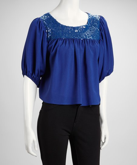 Royal Blue Sequin Panel Puff-Sleeve Top