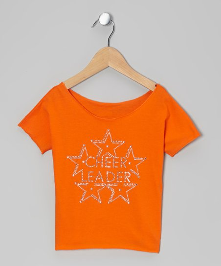 Orange 'Cheerleader' Crop Top - Girls