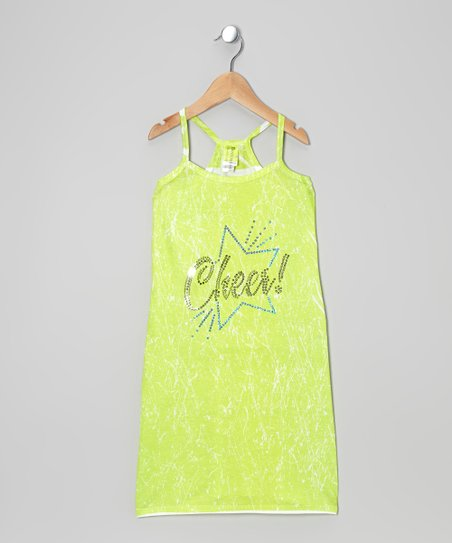 Lime 'Cheer!' Marble-Dye Dress - Girls