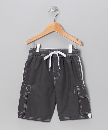 Charcoal Swim Trunks - Boys