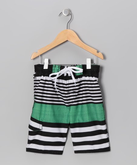 Black & Green Stripe Swim Trunks - Boys