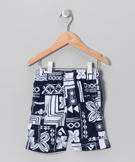 Navy Plaid Swim Trunks - Toddler & Boys