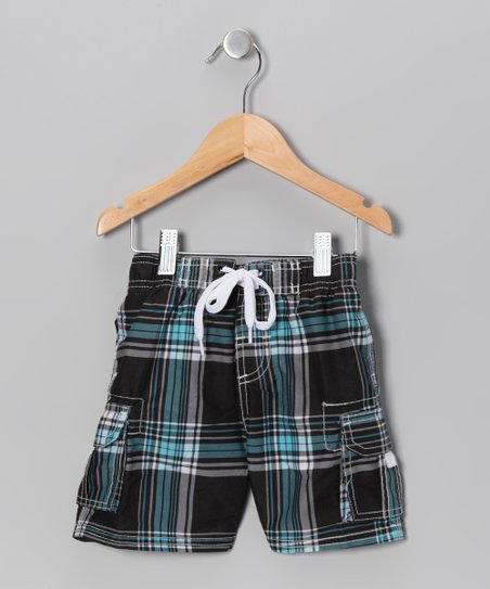 Black Plaid Swim Trunks - Boys