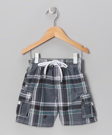 Charcoal Plaid Swim Trunks - Boys