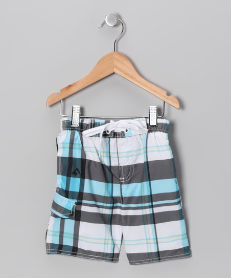 Black & Aqua Swim Trunks - Boys