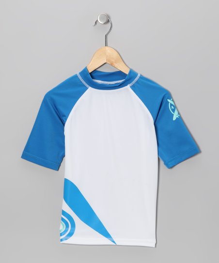 White & Royal Rashguard - Toddler & Boys