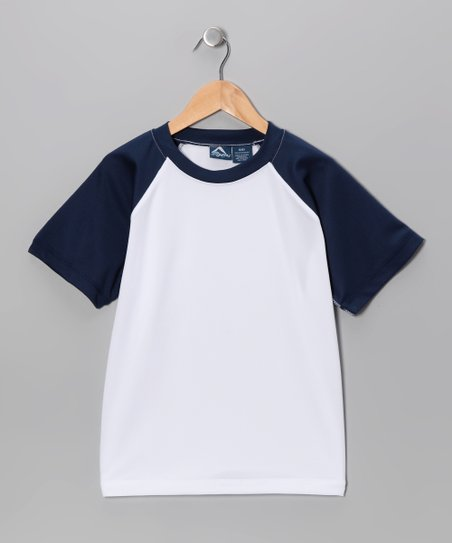 White & Navy Rashguard - Toddler & Boys
