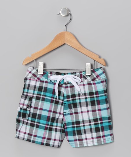 Black Plaid Boardshorts - Girls