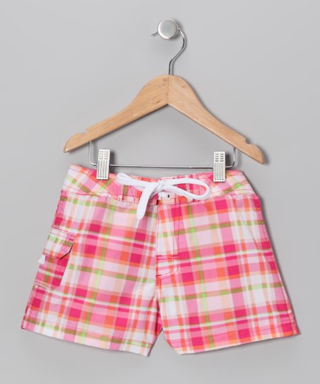 Pink Plaid Boardshorts - Girls
