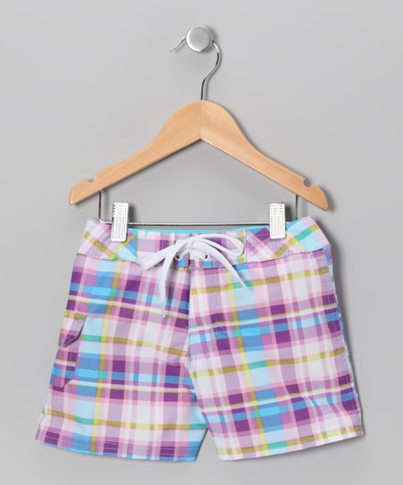 Purple Plaid Boardshorts - Girls