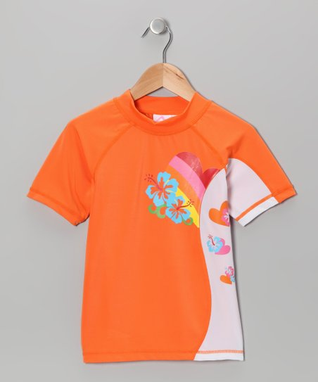 Orange Paris Rashguard - Girls