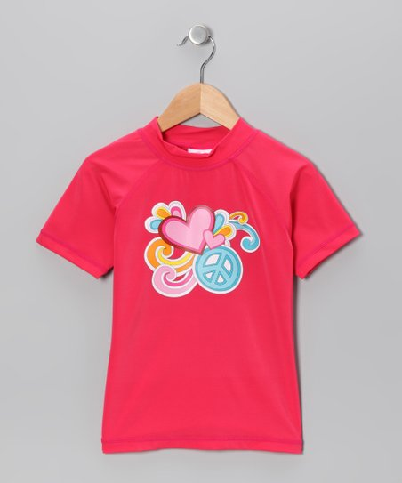 Raspberry Love Peace Rashguard - Girls