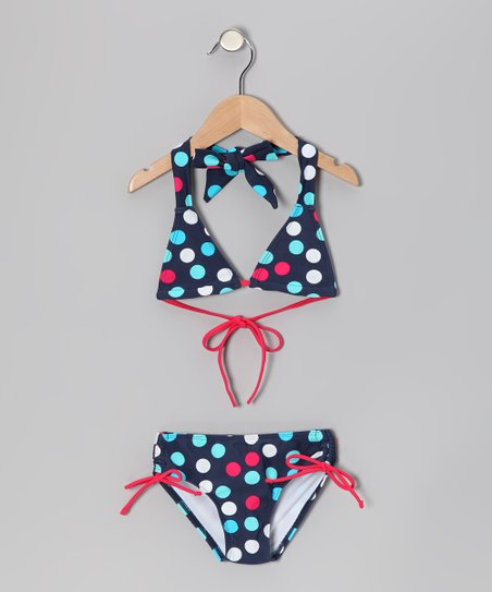 Navy Polka Dot Nice Bikini - Toddler & Girls