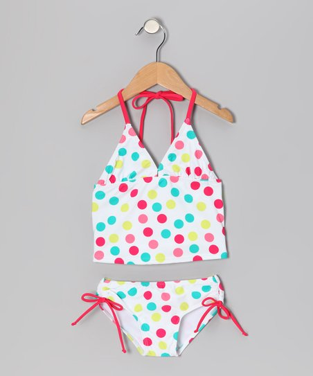 White Polka Dot Nice Tankini - Infant