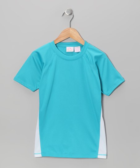 Aqua & White Rashguard - Toddler & Girls