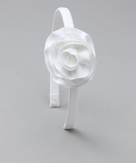 White Cabbage Rose Headband