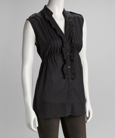 Black Sleeveless Button-Up
