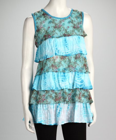 Blue Floral Tiered Sleeveless Top