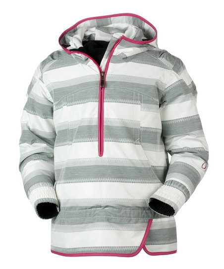 Gray Quarry Stripe Jacquard Revival Jacket - Girls