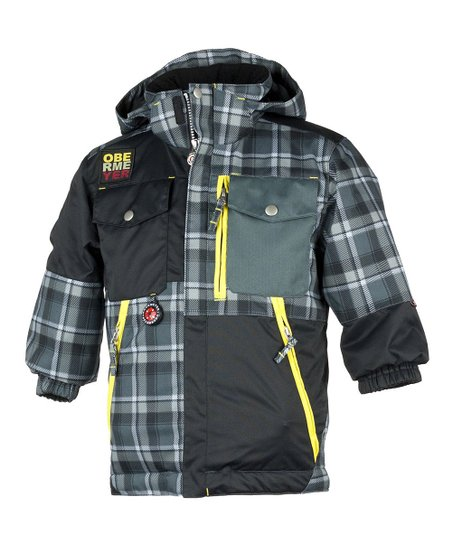Slate Flannel Plaid Superpipe Jacket - Toddler & Boys