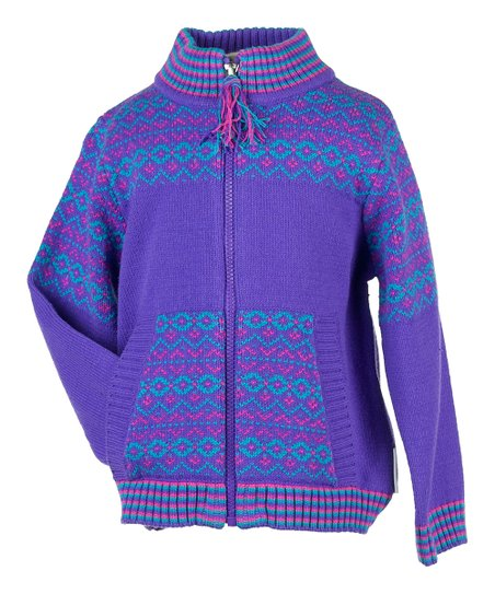 Grape Nordic Zip-Up Sweater - Infant, Toddler & Girls