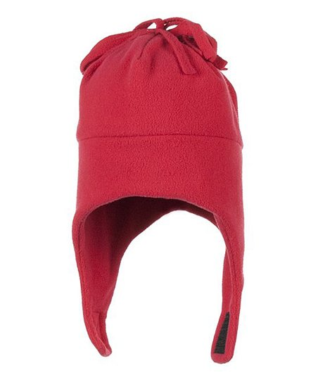True Red Orbit Fleece Earflap Beanie