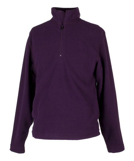 Plum Micro Zip Long-Sleeve Top - Girls