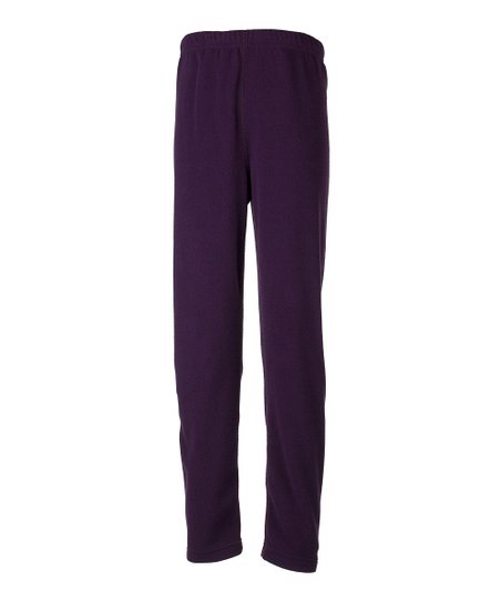 Plum Fleece Footless Tights - Girls