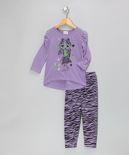 Purple Zebra Top & Leggings - Girls