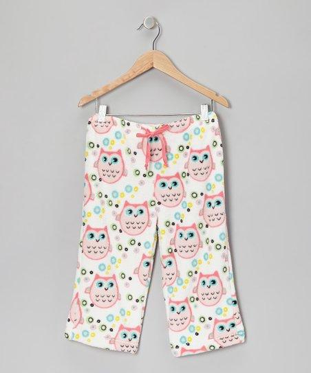 Pink Owl Plush Pajama Pants – Girls