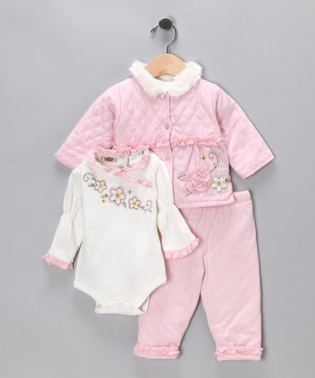 Baby Grand Shy Pink Flower Pants Set - Infant