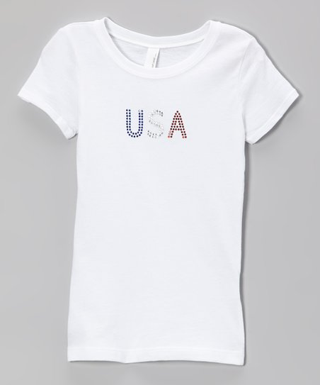 White 'USA' Rhinestone Tee – Girls & Women