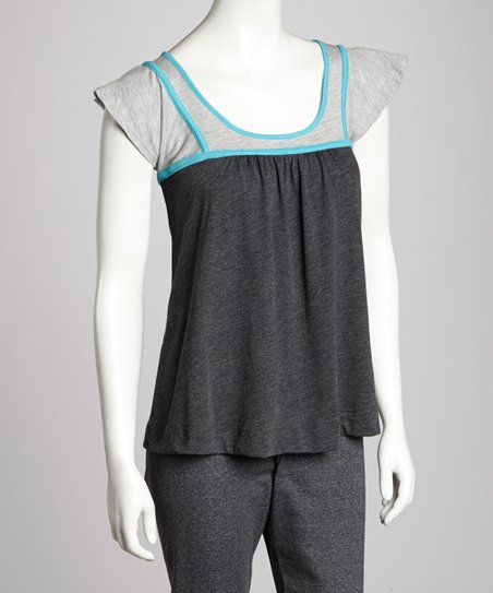 Charcoal & Aqua Angel-Sleeve Top