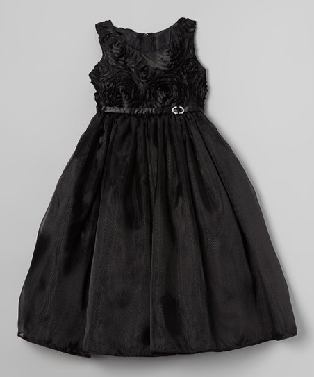 Black Rosette Swirl Dress - Toddler & Girls