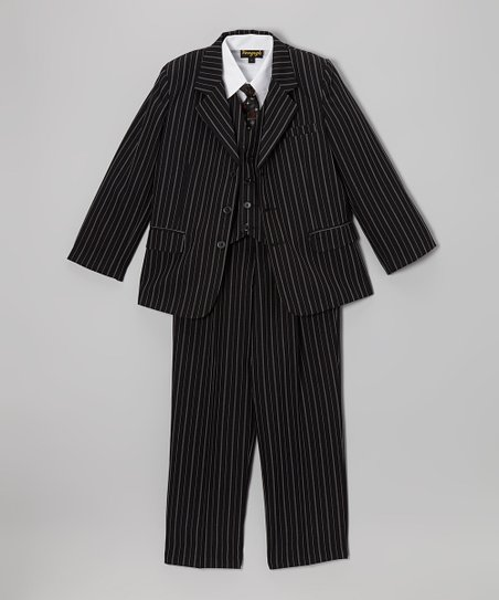 Black & White Stripe Five-Piece Suit Set - Infant, Toddler & Boys