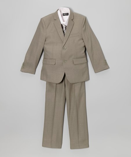 Tan & White Five-Piece Suit Set - Toddler & Boys