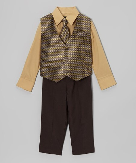 Dark Tan & Yellow Four-Piece Vest Set - Infant, Toddler & Boys