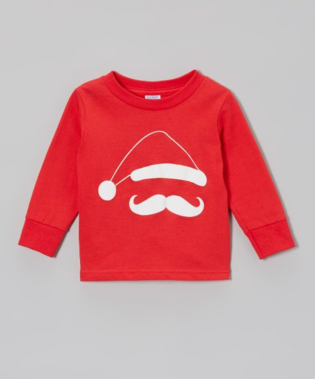 Red & White Santa 'Stache Tee - Toddler, Kids & Adults