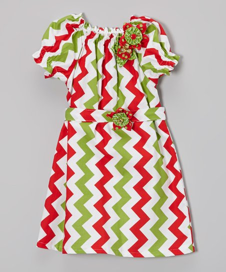 Red & Green Zigzag Bishop Dress - Infant & Toddler