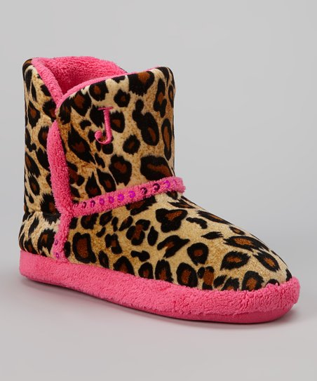 Pink & Tan Leopard Sequin Boot Slipper - Girls