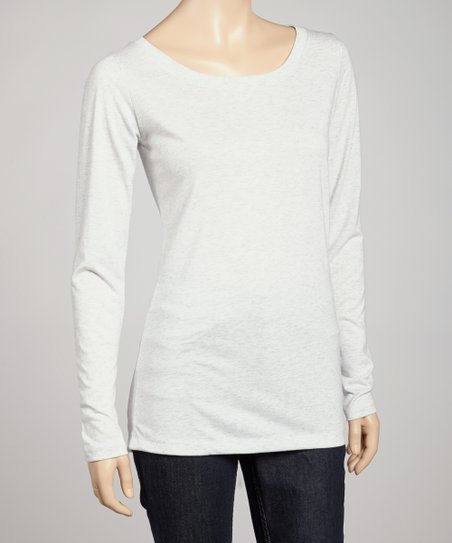 Heather White Long-Sleeve Tee