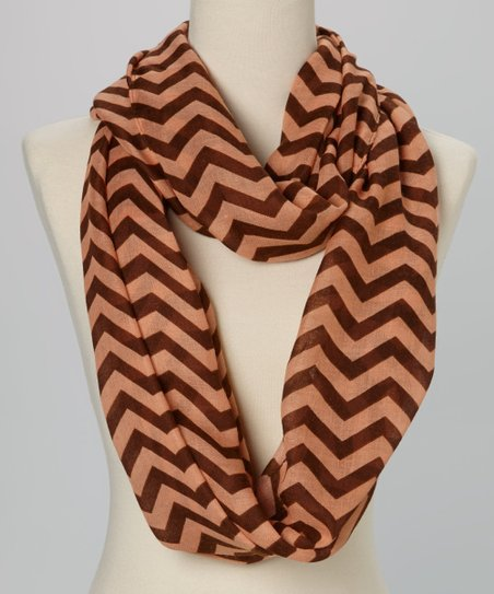 Peach & Chocolate Thin Zigzag Infinity Scarf
