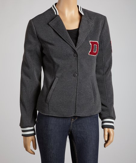 Charcoal Letterman Blazer - Women