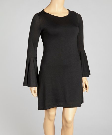 Black Bell-Sleeve Dress - Plus