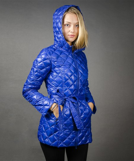 Bright Blue Quilted Down Coat - Women
