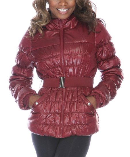 Burgundy Down Belted Puffer Jacket