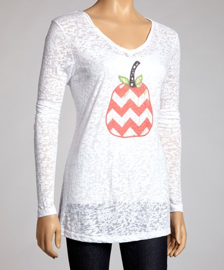 White Zigzag Pumpkin Burnout Long-Sleeve Top - Women & Plus