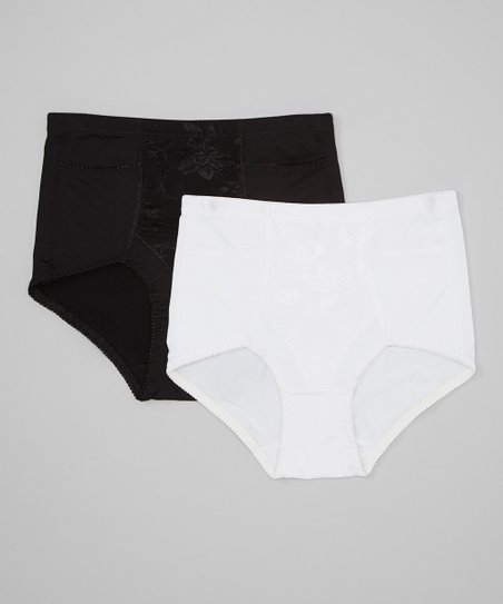 Black & White Lace Light Control Shaper Briefs Set - Women & Plus